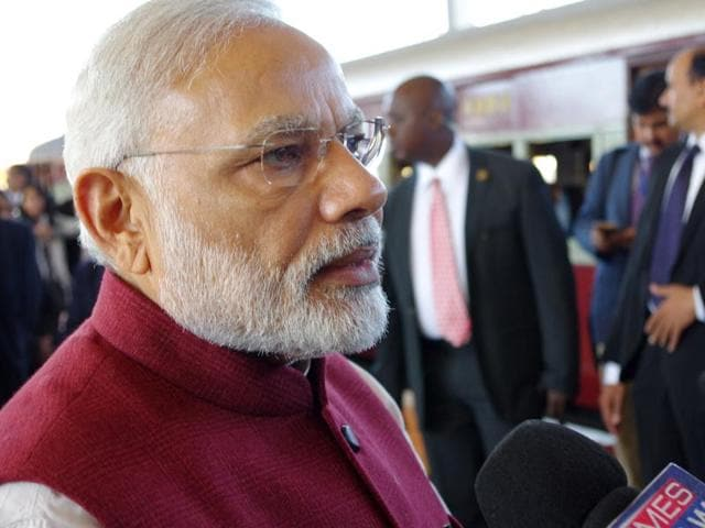 Indian Prime Minister Narendra Modi, speaks to the press in Pietermaritzburg, South Africa, on Saturday after copying the historic train trip that Mahatma Gandhi took in 1893.
