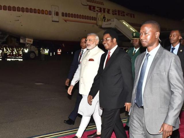 PMModi was received at the Dar-es-Salaam airport  by Tanzanian PMKassim Majaliwa.