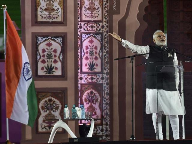 Prime Minister Narendra Modi addresses the Indian community at Kasarni Stadium in Nairobi, Kenya, on Sunday.