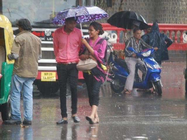 Commuters faced a tough time as rains left parts of the city flooded in Indore on Saturday.