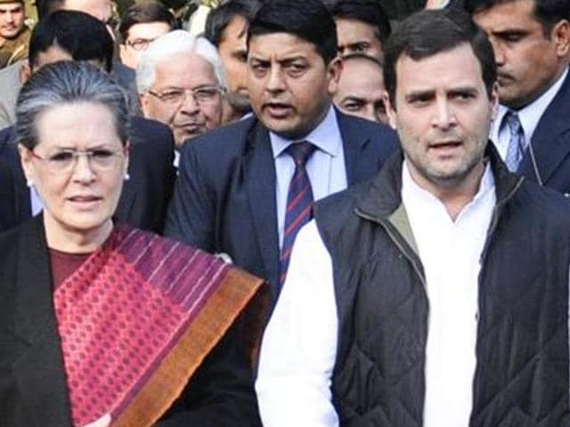 Congress President Sonia Gandhi and Vice President Rahul Gandhi come out of Patiala House court after the court granted bail to both the leaders in National Herald Case, in New Delhi, India, on  December 19, 2015. The Congress party is set to relaunch the English daily along with two other newspapers after a gap of eight years.