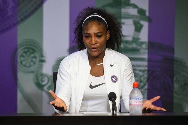 US player Serena Williams gives a press conference after winning the women's singles final during the 2016 Wimbledon Championships tennis tournament  on July 9, 2016.