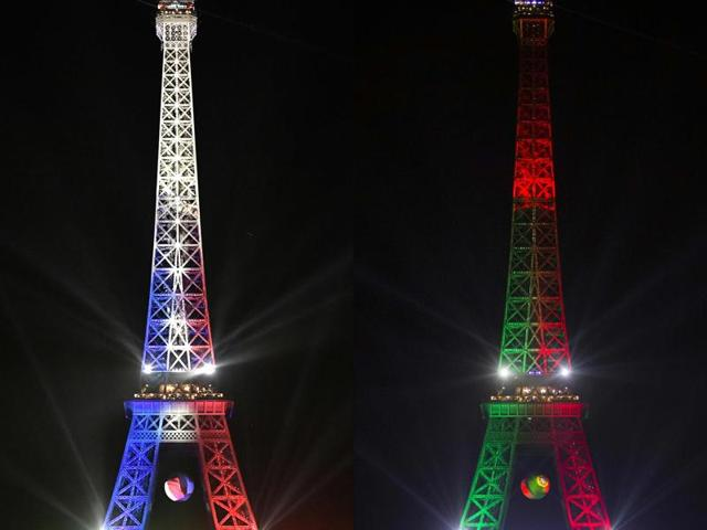 This combination of pictures created on July 8, 2016 shows the Eiffel Tower lighted with the colors of the French National flag on July 7, 2016 (L) and Portugal flag on July 1, 2016. France and Portugal will play the Euro 2016 final on July 10, 2016.