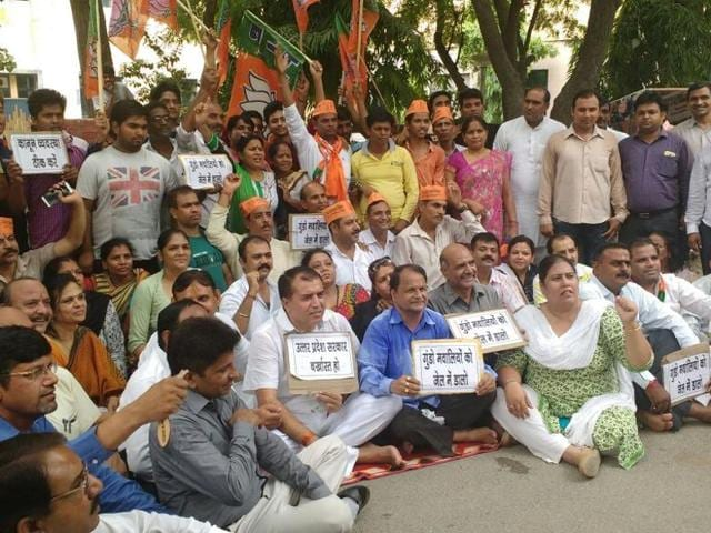 Residents of sector 22 and Bharatiya Janta Party members staged a protest outside the  sector 24 police station on Sunday morning, against the rising incidents of crime in their locality.