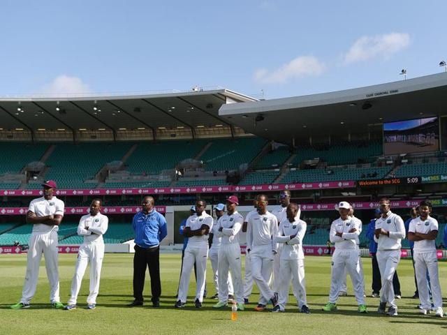 West Indies players look dejected after losing the series during day five of the third Test match against Australia.