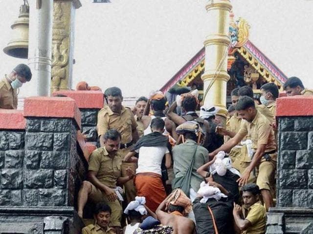 Scores of men undertake the gruelling 41 day purity test to make the pilgrimage to the Sabrimala Ayyappa temple at Sabarimala in Kerala.  An old tradition bars menstruating women entry into the temple since Ayyappa is a celibate deity.