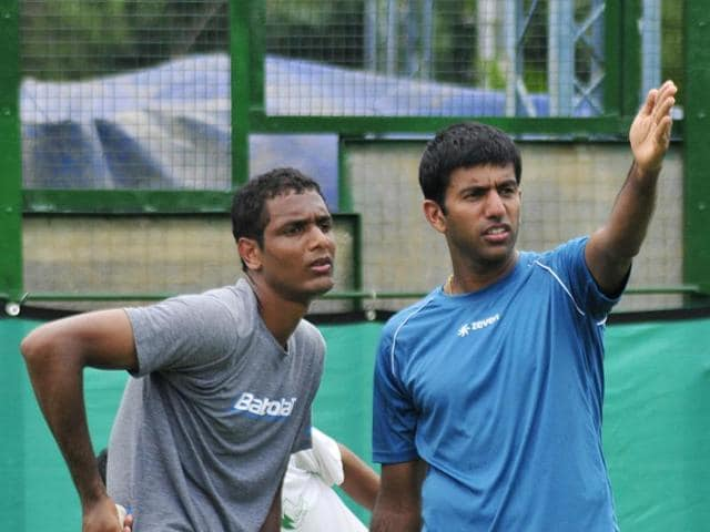 Rohan Bopanna (right) and Ramkumar Ramanathan during a practice session ahead of India's Davis Cup tie against South Korea in Chandigarh on Monday.