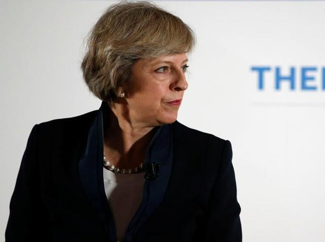 Britain's Home Secretary Theresa May speaks during her Conservative party leadership campaign at the Institute of Engineering and Technology in Birmingham.