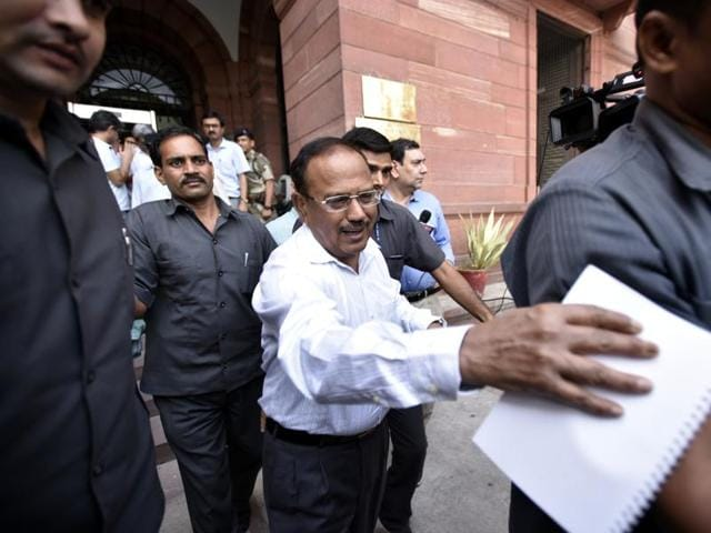 National Security Adviser Ajit Doval leaves the home ministry after a high-level meeting on Kashmir, in New Delhi.