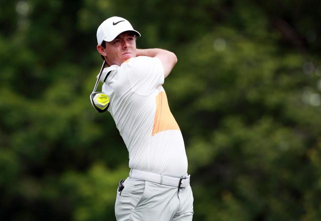 Rory Mcllroy tees off during the first round of The Memorial Tournament.