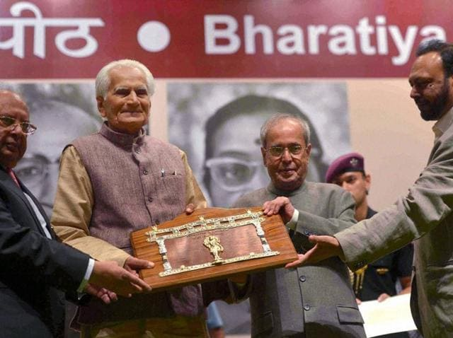 President Pranab Mukherjee presenting the 51st Jnanpith Award to Raghuveer Chaudhary at Parliament Library Building in New Delhi on Monday.