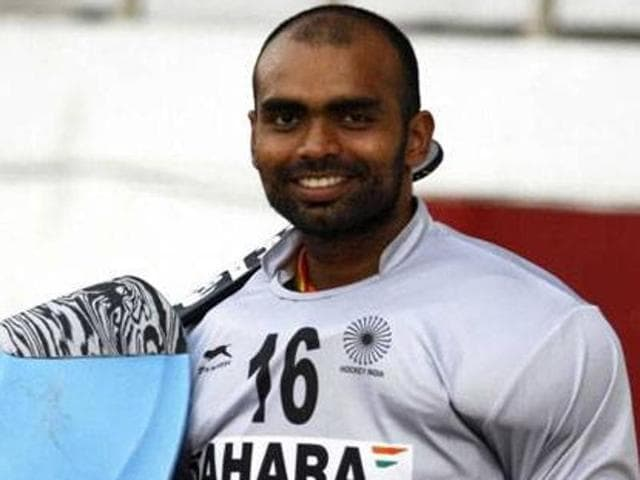 Goalkeeper PR Sreejesh will lead the Indian men's hockey team in the Rio Olympics.(PTI Photo)