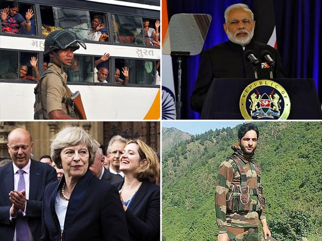 (Clockwise from top left) Kashmir remains to be tense and gripped in security; PM Modi to take stock of the situation; Theresa May set to become next Britain PM and Burhan Wani, whose killing by the security forces sparked unrest in the Valley.