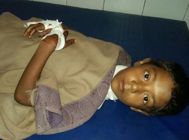 Police said the assailants had made cuts with a knife on the child's fingers and wrist and were about to slit her throat 'to please mother nature' when her cries for help brought neighbours to her rescue.