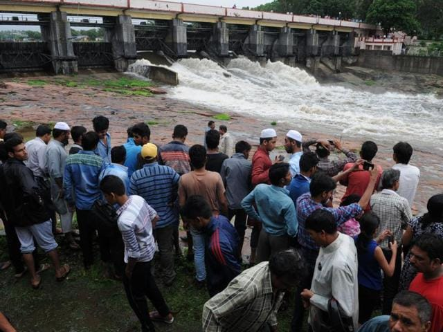 Three sluice gates of Bhadbhada Dam were opened on Tuesday after the lake almost reached its full tank level.
