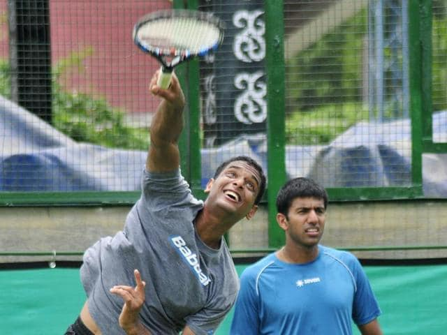 Ramkumar Ramanathan (left) during practice at the Chandigarh Club.
