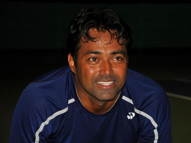 Leander Paes during a practice session ahead of India's Davis Cup tie against South Korea at the Chandigarh Club on Tuesday.