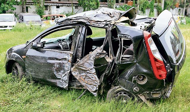 The mangled remains of the car at the Sector 34 police station in Chandigarh on Monday.