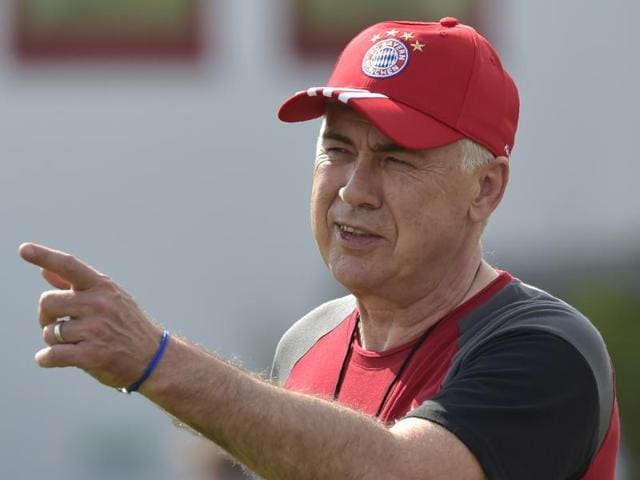 Bayern Munich's new Italian head coach Carlo Ancelotti leads the first training of the Bayern Munch.