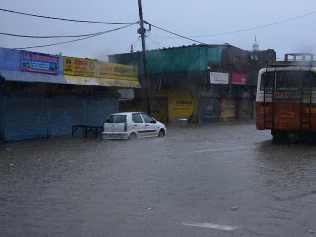A water logged road near Chuna Bhatti in Bhopal. The after-effects of the heavy showers are being felt in the city.