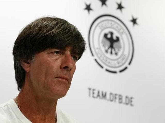 Germany's head coach Joachim Loew (centre) attends a training session at their training grounds in Evian-les-Bains during the Euro 2016 football tournament.
