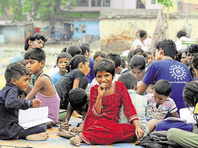 Students of ABES college have been teaching slum children in four Ghaziabad areas.