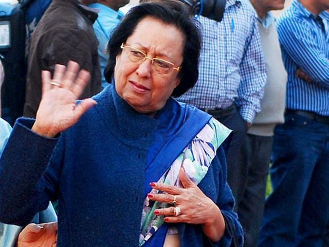 BJP leader Najpa Heptulla waves towards party workers  during the national executive meet in Delhi.