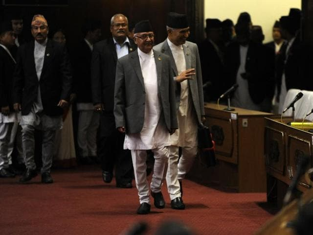 A letter by Maoist chairman Pushpa Kamal Dahal, mentioning the CPN (MC)'s  decision to withdraw support was handed over to Oli on Tuesday.