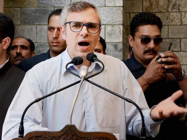 Former Jammu and Kashmir chief minister and National Conference working president Omar Abdullah addresses a rally in Srinagar.