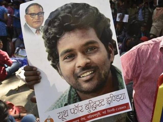 Students protest over Rohith Vemula's suicide, in New Delhi.