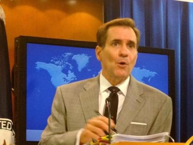 State Department Spokesman John Kirby addressing a news conference at the State Department headquarters in Washington DC on Monday.