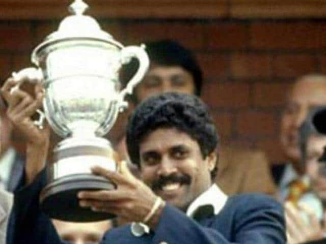 Indian Cricket captain Kapil Dev lifting the 1983 World Cup trophy.