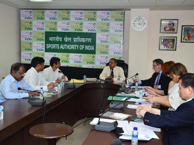 National Anti-Doping Agency director general Navin Agarwal (centre) addresses a meeting at the agency headquarters in Delhi