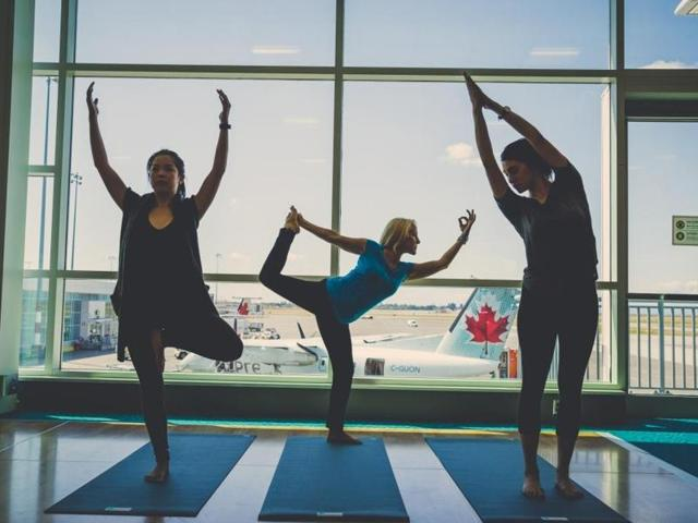 The yoga area at the Vancouver International Airport that will be formally open to domestic passengers on Friday.