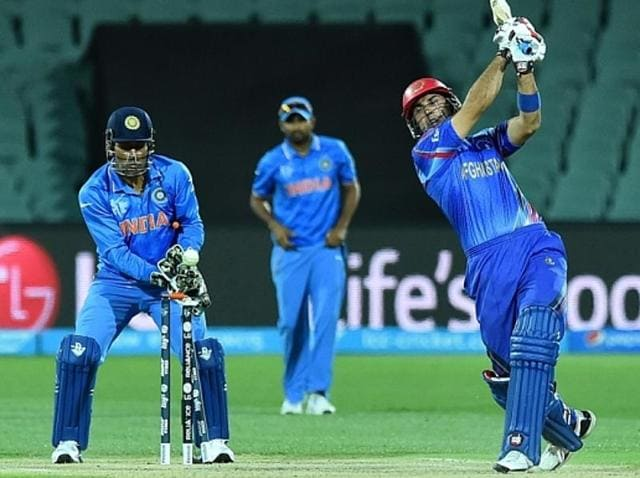 Afghanistan's Mohammad Nabi during the one-day international World Cup warm-up cricket match.
