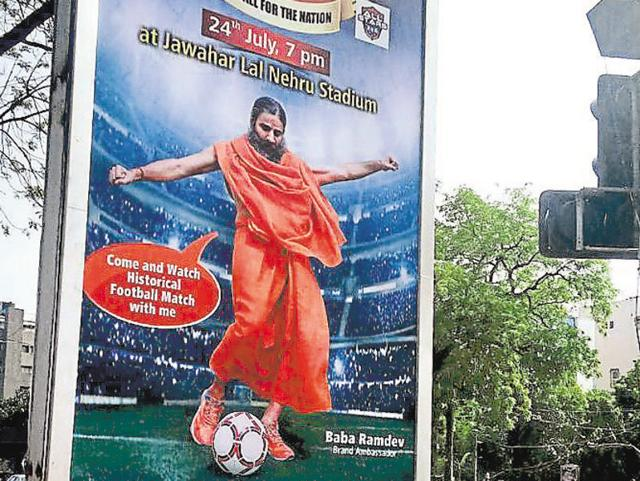 A hoarding for the match between parliamentarians and Cinestars at Jawaharlal Nehru Stadium on 24th July 2016.