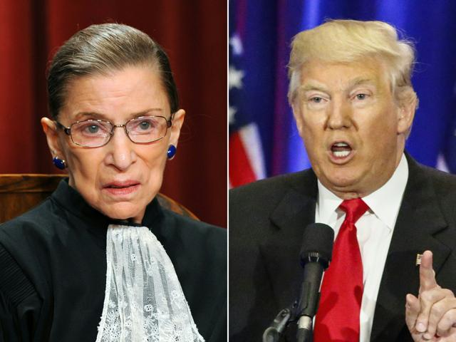 (COMBO) This combination of pictures created on July 13, 2016 shows US Supreme Court Associate Justice Ruth Bader Ginsburg (L) in Washington, DC, on October 8, 2010 and Republican presidential nominee Donald Trump in New York on June 22, 2016. Trump called on July 13, 2016, for the resignation of the Ginsburg, charging that her