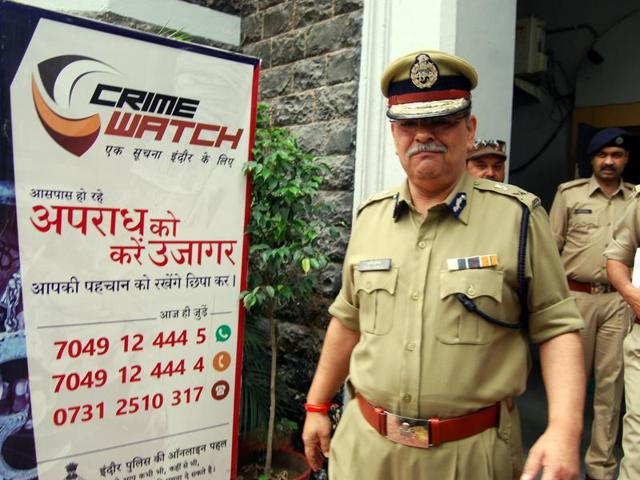 DGP Rishi Shukla at the police control room in Indore on Wednesday.