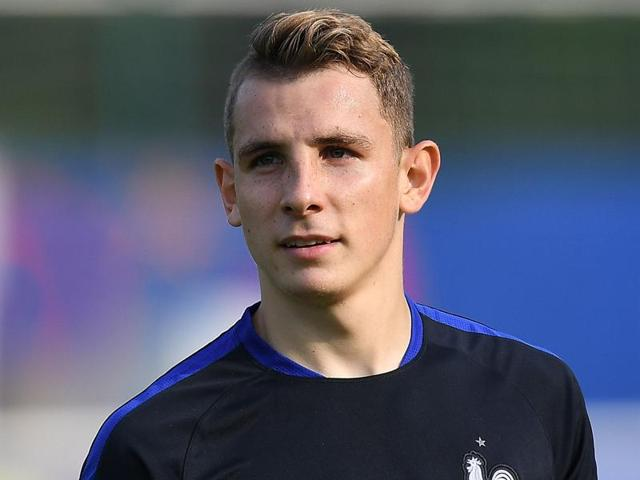 France's defender Lucas Digne during a training session in Clairefontaine en Yvelines.