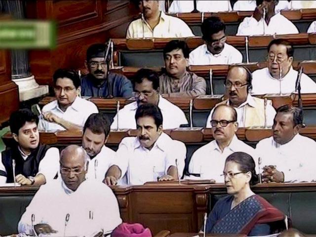 Congress president Sonia Gandhi makes a point in Lok Sabha last year.