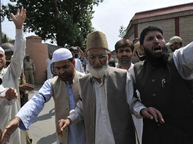 Syed Ali Shah Geelani was detained by police outside his residence in Srinagar.