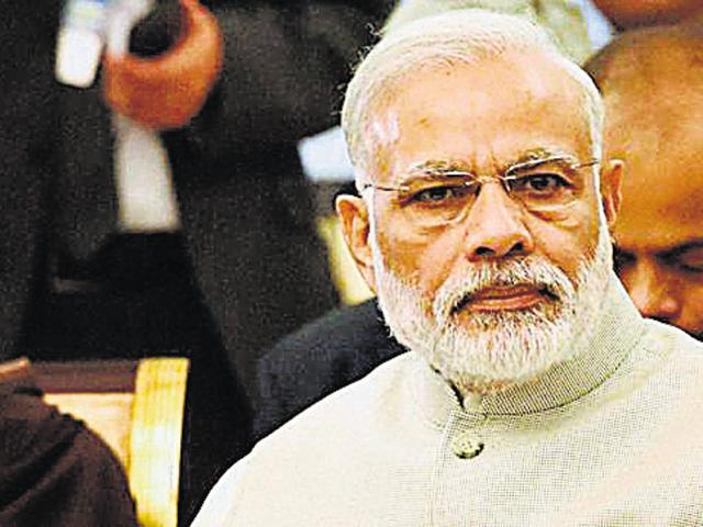 Prime Minister Narendra Modi said Burhan Wani, who was involved in terror activities, was portrayed as a 'hero' by the media.(PTI File)