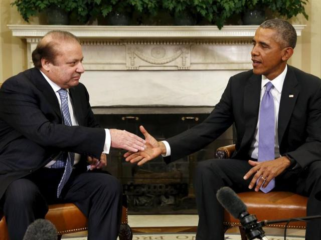US President Barack Obama with Pakistan's Prime Minister Nawaz Sharif in the Oval Office of the White House in Washington.
