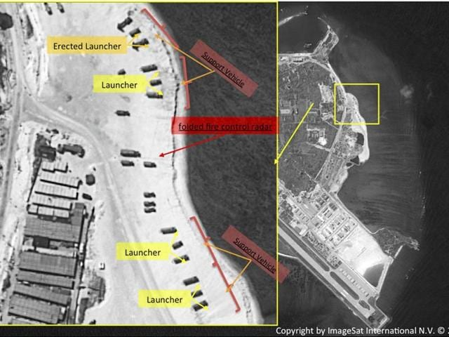 This image with notations provided by ImageSat International NV shows satellite images of Woody Island, the largest of the Paracel Islands, in the South China Sea.(AP)