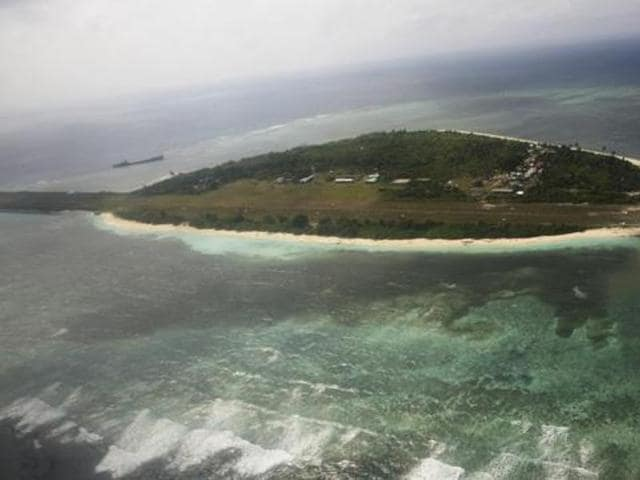An aerial view shows the Pagasa (Hope) Island, which belongs to the disputed Spratly group of islands, in the South China Sea located off the coast of western Philippines in this July 20, 2011 file photo.
