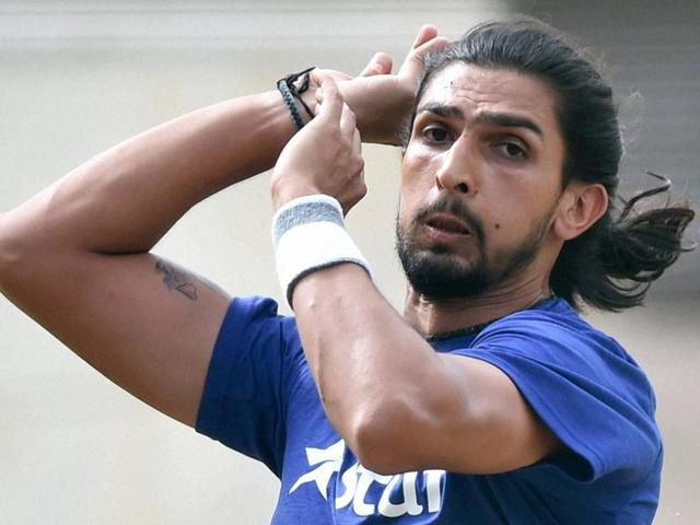 Cricketer Ishant Sharma bowls on the fourth day of the preparatory camp ahead of West Indies tour.