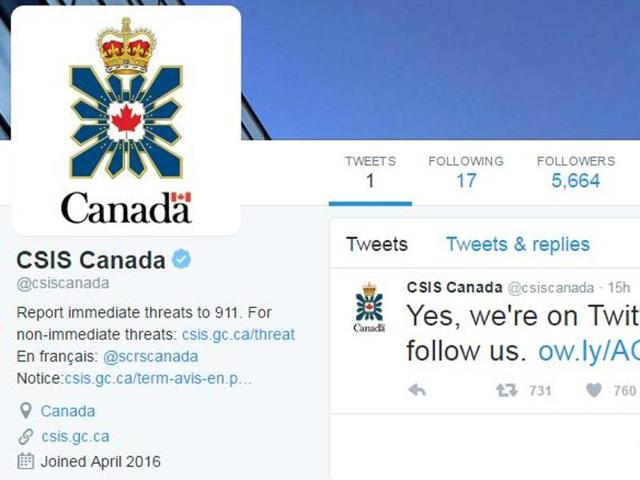 A screengrab of the Twitter account set up by Canada's premier spy agency, CSIS.