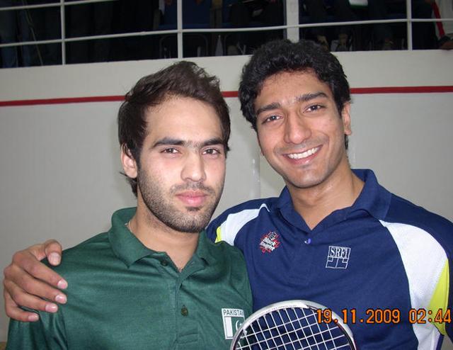 Gaurav Nandrajog (right) with Pakistan squash player Farhan Mehboob.