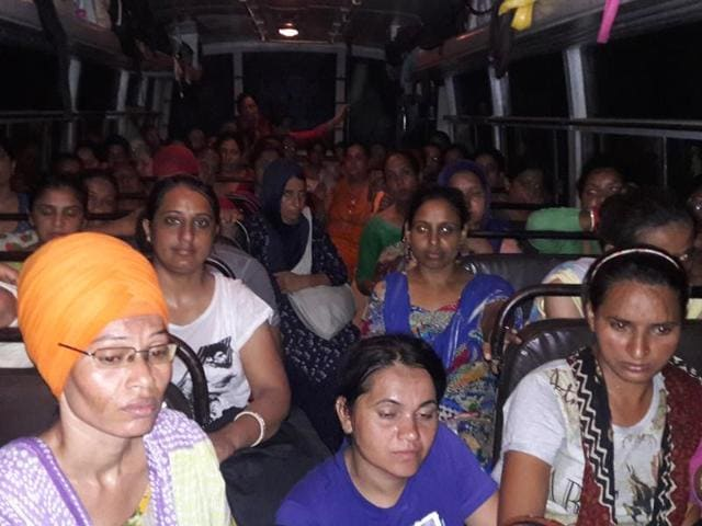 Members of nurses and ancillary staff union inside a bus at Mansa on Tuesday midnight.