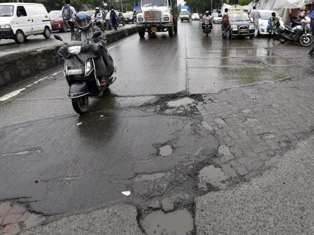 Potholes on the Andheri Kurla road.